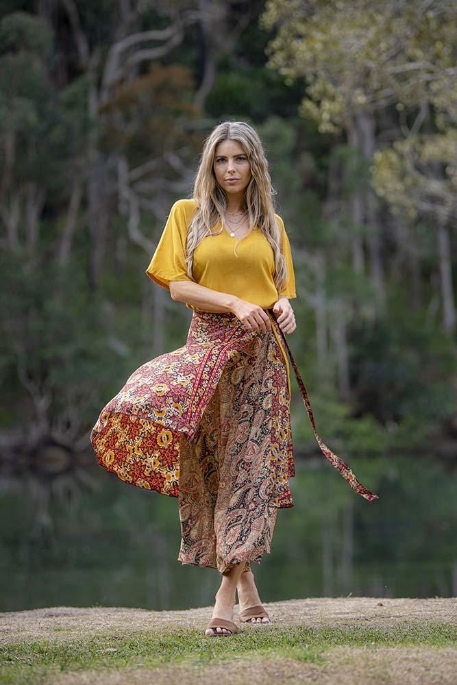 Rust Floral Wrap Skirt